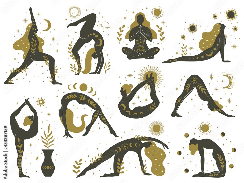 Magical yoga women. Mystical esoteric female silhouettes, minimalist meditating girls vector illustrations set. Yoga feminine contemporary concept - obrazy, fototapety, plakaty