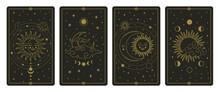 Moon And Sun Tarot Cards. Mystical Hand Drawn Celestial Bodies Cards, Magic Tarot Card Vector Illustration Set. Magical Esoteric Tarot Cards