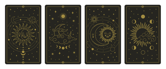 Moon and sun tarot cards. Mystical hand drawn celestial bodies cards, magic tarot card vector illustration set. Magical esoteric tarot cards