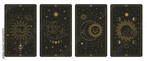 Fototapeta Moon and sun tarot cards. Mystical hand drawn celestial bodies cards, magic tarot card vector illustration set. Magical esoteric tarot cards obraz