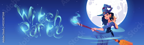 Tableau sur Toile Witch party cartoon vector banner, beautiful woman in magician hat an dress flying on broom in night sky with moon