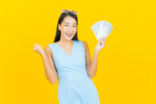 Portrait Beautiful Young Asian Woman Smile With A Lot Of Cash And Money