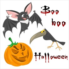Funny And Friendly Halloween Characters. Elements Of A Good Autumn Holiday. Bat, Raven And Pumpkin With Boo And Halloween Lettering