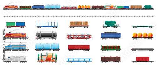 Fotografie, Obraz Set of train cargo wagons, cisterns, tanks, cars