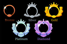 Frame Game Rank, Gold, Silver, Platinum, Bronze, Diamond Round Avatar Template 6 Steps Animation For Game.