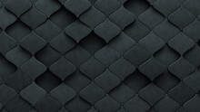 Semigloss Tiles Arranged To Create A Concrete Wall. 3D, Arabesque Background Formed From Futuristic Blocks. 3D Render