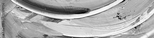 Grayscale abstract oil impasto painting closeup Fototapeta
