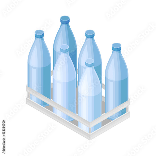 Fototapeta Water Poured in Plastic Bottles Rested in Crate for Storage and Distribution Isometric Vector Illustration obraz