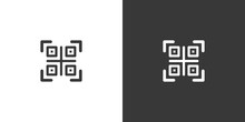 QR Code. Web And Shopping Payment Technology. Isolated Icon On Black And White Background. Commerce Glyph Vector Illustration