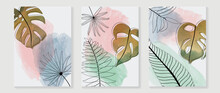 Topical Leaves Abstract Watercolor Art Background Vector. Wall Arts Design With Earth Tone And Watercolor Brush Texture.