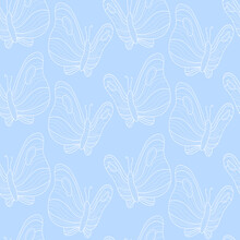 Cute Blue Pattern With Line White Butterflies. Seamless Background. Textiles For Children. Minimalism Paper Scrapbook For Kids.