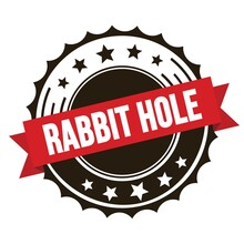 RABBIT HOLE Text On Red Brown Ribbon Stamp.