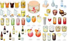 お酒・カクテルの人気メニューアイコン①(ビール、日本酒、ワイン、サワー、ハイボール)