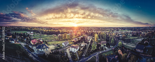 Foto Zachód słońca z lotu ptaka na Górnym Śląsku, Jastrzębie Zdrój