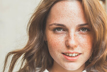 Woman Freckles Skin Beauty Natural Make Up Portrait Casual Happy Smile