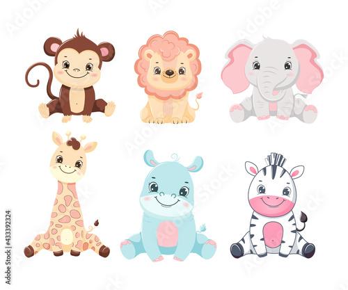 Naklejka premium Collection of cute cartoon safari animals baby. Children illustration.Isolated on white background