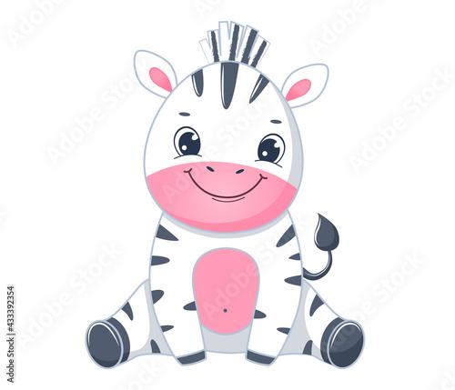 Naklejka premium Cute cartoon zebra baby sits. Children illustration.Isolated on white background
