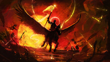 The Horseman Of The Apocalypse Rushes Into Hell On His Pegasus, Illuminates The Sinister Zombie Dead With His Shining Flag, Against The Backdrop Of A Hellish Yellow Huge Sun With A Bloody Sky.