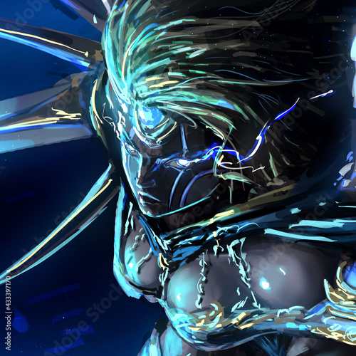 Portrait of a beautiful but furious valkyrie girl with lightning bolts from her eyes , her face glows blue from bright sparks, she is wearing beautiful jewelry armor and a huge sword in her hand Fototapet