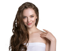 Beautiful Young Woman With Healthy Beauty Skin Carenatural Clean Fresh Skin And Beautiful Hair Isolated On White