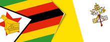 Zimbabwe And Vatican City Flags, Two Vector Flags.
