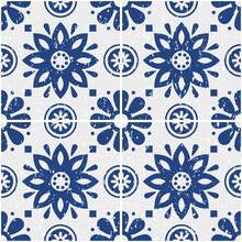 Portuguese Azulejo Tiles Seamless Vector Pattern - Old Scratched Style, Retro Design With Flowers In Navy Blue