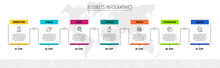 Vector Line Infographic Template Label For Seven Colorful Rectangle Labels. Business Concept With 6 Elements And Icons. Modern Blank Space For Chart, Content, Step For Step, Timeline, Diagram, Web