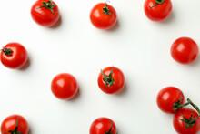 Fresh Cherry Tomato On White Background, Top View