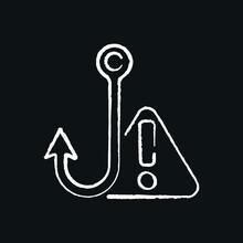 Phishing In Message Chalk Icon. Spam. Virus. Vector Isolated Black Illustration.