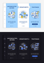 Shoppers Types Onboarding Vector Template. Responsive Mobile Website With Icons. Web Page Walkthrough 3 Step Screens. Average Buyers, Tightwads Night And Day Mode Concept With Linear Illustrations