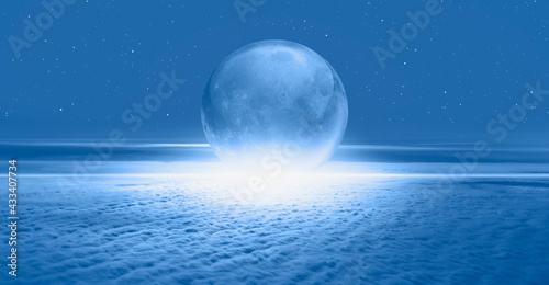 Full glass moon (or crystal ball moon) rising over the empty clouds Fototapeta