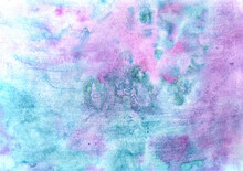 Abstract Textural Background With Aquamarine And Pink Paint Branchy Cracks With Black Divorces