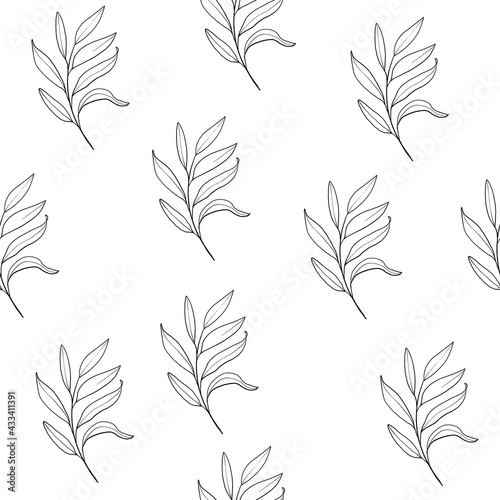 Fototapeta Floral line art seamless pattern