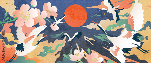 Fototapeta Luxury gold oriental style background vector. Chinese and Japanese oriental line art with golden texture. Wallpaper design with Cherry blossoms flower and crane. Ocean and wave wall art. obraz