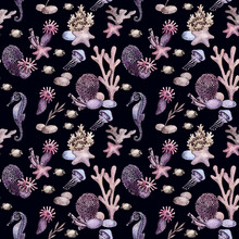 Watercolor Under The Sea Seamless Pattern With Coral Reef, Jellyfish, Seahorse, Dolphin, Fish On Dark Blue Background