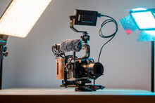 Camera With External Monitor, Mic, And Handheld Film-making Rig.