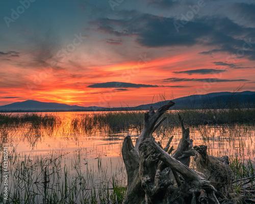 Fototapeta Wiosenny zachód słońca nad jeziorem obraz