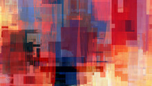 Colorful Rectangles With Red And Blue, Digital Abstract Painting. Beautiful Artwork With Warm Colors