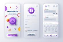 Online Messenger Unique Neomorphic Design Kit For App Neomorphism Style. Social Network Screens With User Profile. Mobile Messenger UI, UX Template Set. GUI For Responsive Mobile Application.