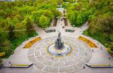 Fototapeta Kawa jest smaczna - Taras Shevchenko monument at Sumskaya street in Kharkov, aerial view