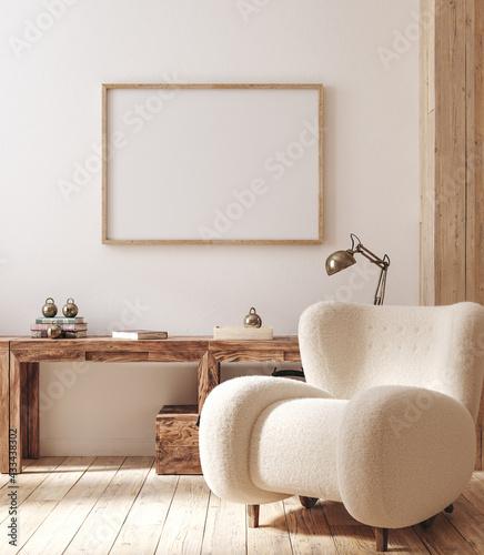 Valokuva Mockup frame in farmhouse living room interior, 3d render