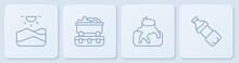 Set Line Drought, Deforestation, Coal Train Wagon And Bottle Of Water. White Square Button. Vector