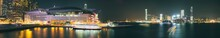 Panoramic Night Time Shot Of The Hong Kong Exhibition & Convention Center In Wanchai