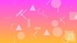 抽象的な幾何学模様とピンク色とオレンジ色の背景