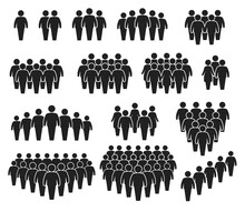 People Crowd Icons. Large Group Of People. Team Of Men Or Women. People Gathering Together, Standing In Queue. Person Pictogram Icon Vector Set. User Group Network, Silhouettes For Infographic