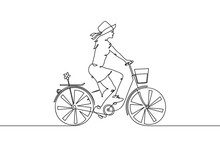 Girl On Bike. Continuous Line. Cyclist On Bicycle Linear Silhouette
