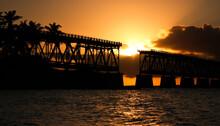 Old Bridge On Key West In Florida During Sunset Time, Bahia Honda State Park, US