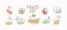 Abstract Fruits Set. Line Art Style. One Line Drawings With Colored Spots. Vector Graphics. Isolated Background.