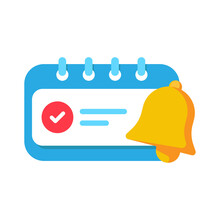 Enable Reminder Notification Permission Pop Up Button Concept Illustration Flat Design Vector Eps10. Modern Graphic Element For Landing Page, Empty State Ui, Infographic, Icon, Etc