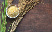 Unpolished Or Brown Jasmine Rice In A White Bowl And Paddy Rice On Brown Wooden Background.